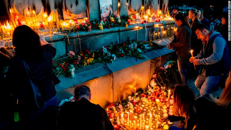 A candlelight vigil in memory of murdered Bulgarian journalist Viktoria Marinova in Sofia