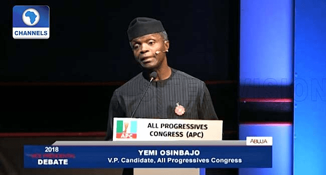 VP Debate: Osinbajo says FG has built six tech hubs, sixty-three days to elections