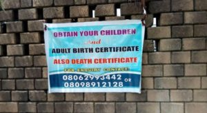 Birth registration advert on the street of Port Harcourt