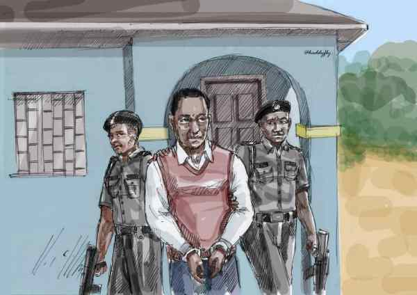 """""""Sketch illustrating the arrest of 34 year old Chris Chom who was detained for nearly two years for """"a failed attempt to save his nephew's life"""""""