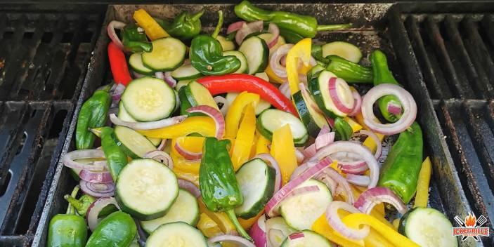 Garnelen mit Gemüse vom Grill