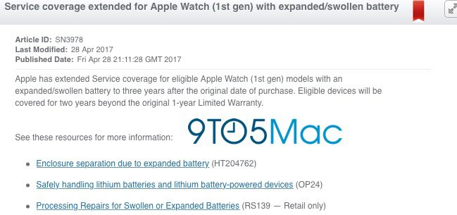 Apple Extends Service Coverage for First-Gen Apple Watches With Swollen Batteries to 3 Years