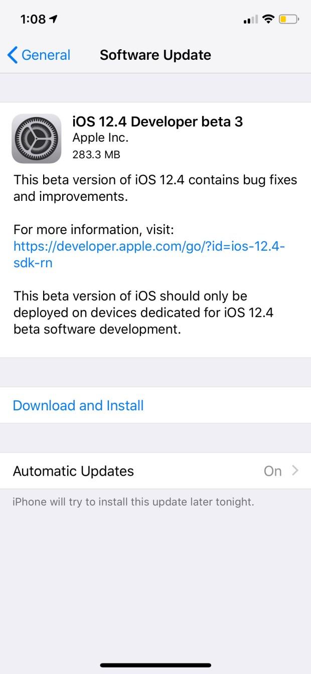 Apple Releases iOS 12.4 Beta 3 [Download]