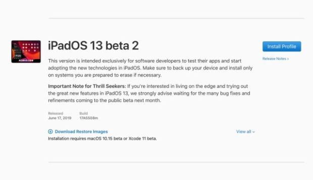 Apple Releases iPadOS 13 Beta 2 [Download]