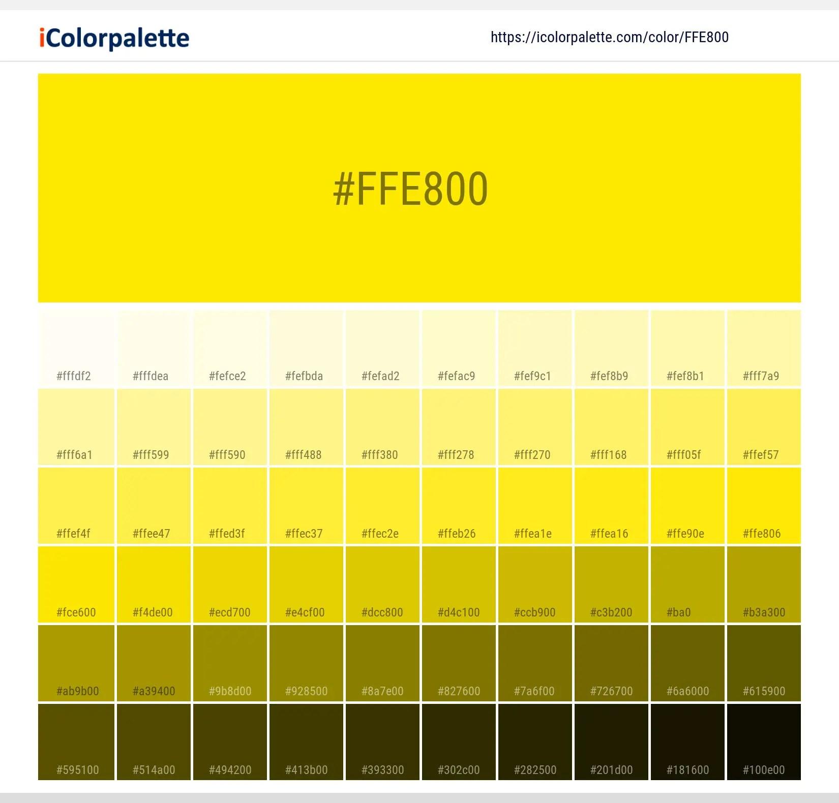Hex Color Code Ffe800 Pantone Yellow U Color Information Hsl Rgb Pantone