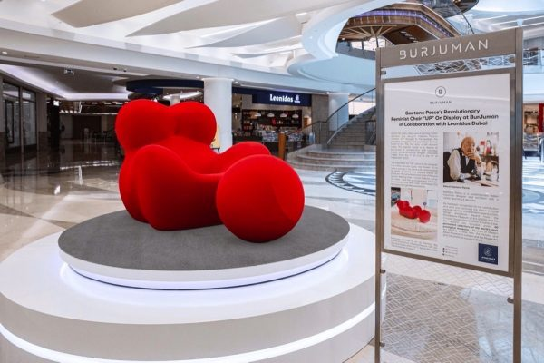 "Gaetano Pesce's Revolutionary Feminist Chair ""UP"" It All Started with a Sponge  Chair ""UP"" On Display at BurJuman in Collaboration with Leonidas Dubai."
