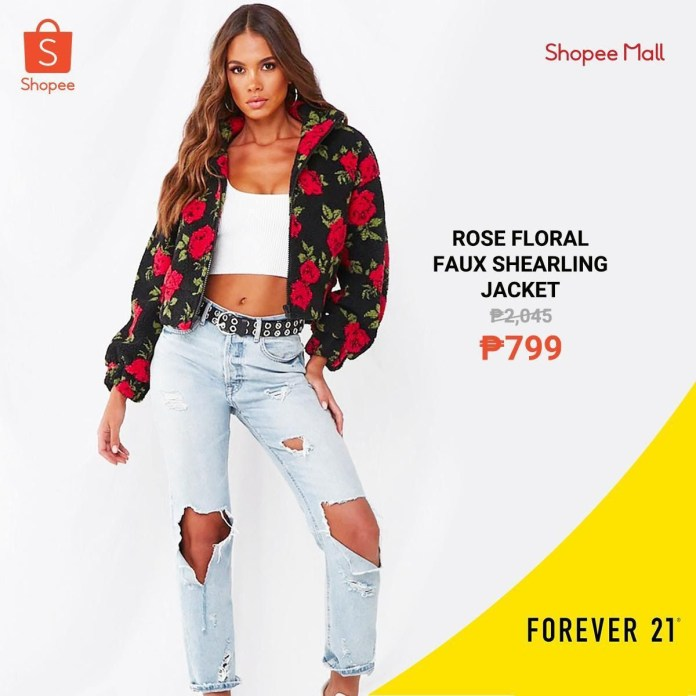 Shopee x Forever 21 - Rose Floral Faux Shearling Jacket