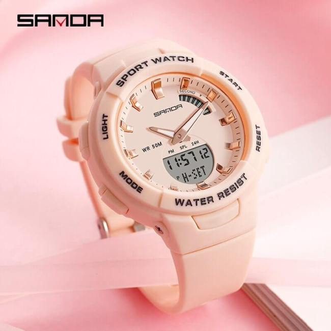 SANDA Luxury Women Digital Green Watch Multifunction Waterproof Women Watch