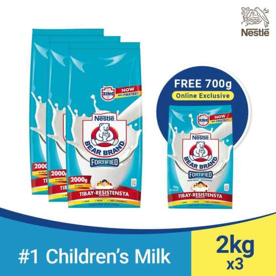 BEAR BRAND Fortified Powdered Milk Drink 2kg - Pack of 3 with Bear Brand 700g