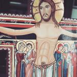 detalle Cruz de San Damián pintada a mano