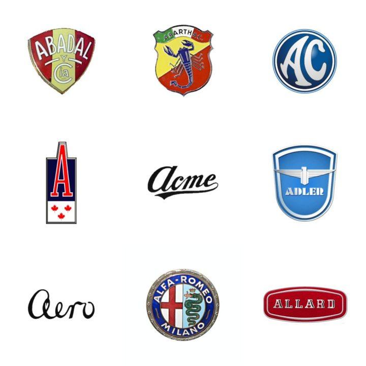 Logos: Abadal (España, 1912-23) - Abarth (Italia, 1949) - AC (Gran Bretaña, 1911-84) - Acadian (Canadá, 1962-71) - Acme (EEUU, 1903-11) - Adler (Alemania, 1900-57) - Aero (Checoslovaquia, 1919-47) - Alfa Romeo (Italia, 1910) - Allard (GB, 1946-58)