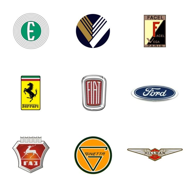Logos: Edsel (EEUU, 1957-59) - Eunos (Japón, 1989-96) - Facel-Vega (Francia, 1939-64) - Ferrari (Italia, 1947) - Fiat (Italia, 1899) - Ford (EEUU, 1903) - GAZ (Rusia, 1932) - Ginetta (GB, 1958) - Hillman (GB, 1907-76)