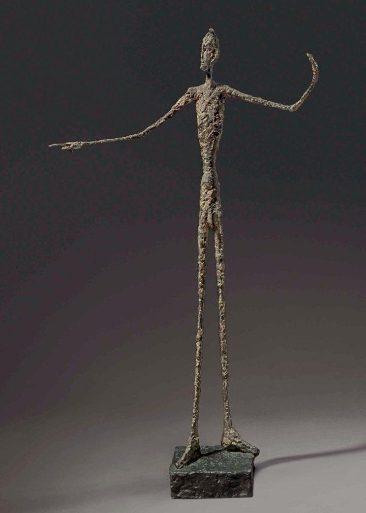 """""""El hombre que señala"""" de Alberto Giacometti (1947) vendido por Christie's en Nueva York el 11.5.2015 por 141,3 M$ (152,4 M$)"""
