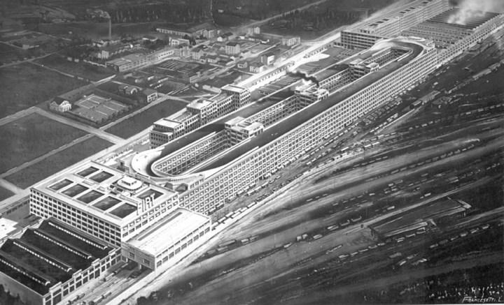 Recreación del Lingotto, la fábrica de Fiat en Turín, en 1928