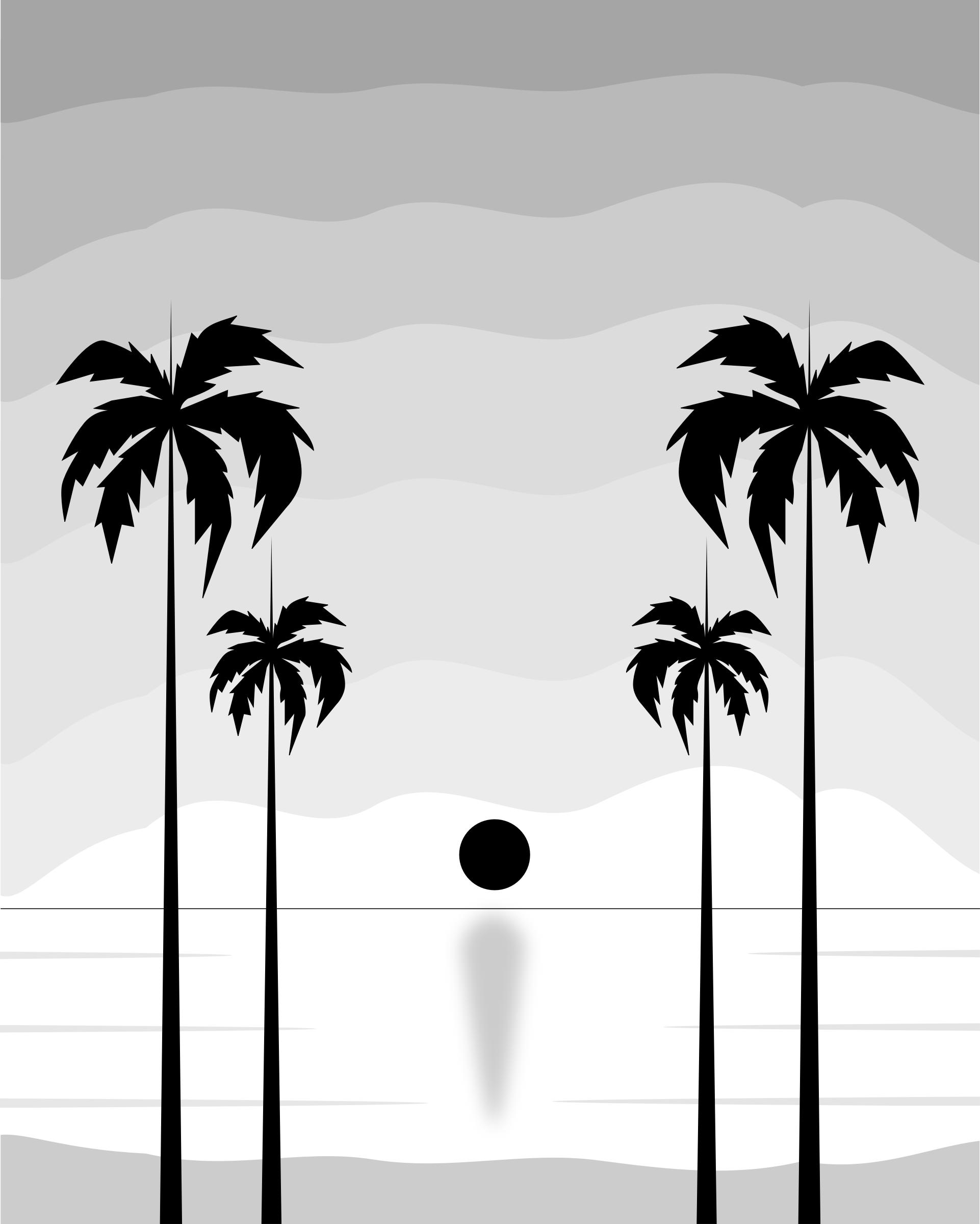 Black And White Tropical Sunset Icons Png Free Png And Icons Downloads