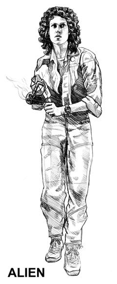 Alien NECA Ripley Concept Drawing