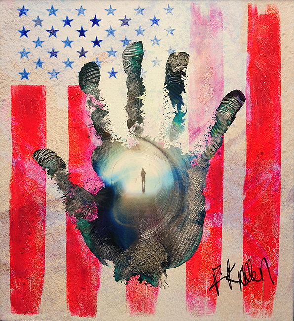 """One of the many striking pieces from Rick Allen's """"Hand - American Flag Series"""""""