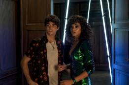 Noah Centineo as Langston and Ella Balinska as Jane in Charlie's Angels.