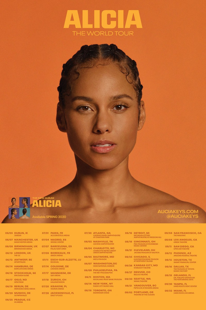 Alicia Keys 2020 tour dates