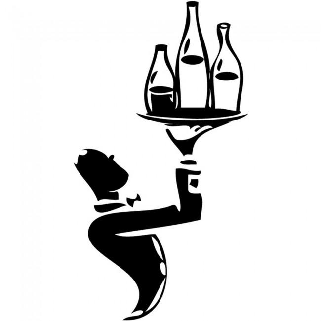 Waiter With Wine Bottles Wall Sticker Chef Wall Art