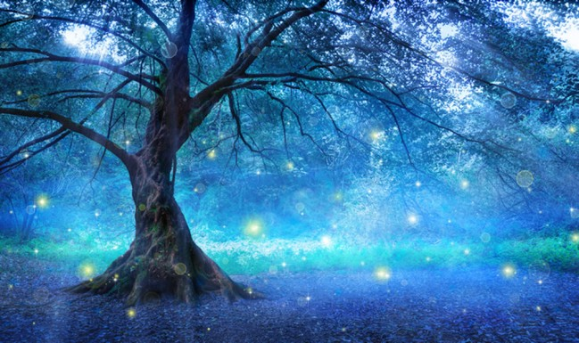 Blue Fairy Tree Wall Mural Wallpaper
