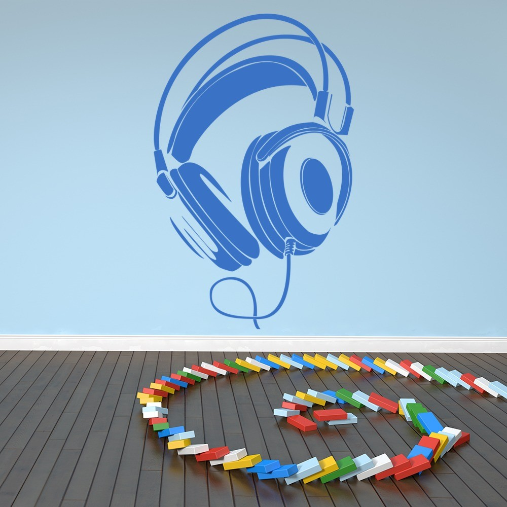 Wired Headphones Wall Sticker Music Wall Decal Kids
