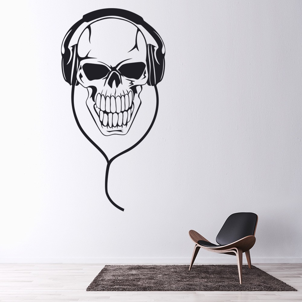 Skull Headphones Wall Sticker Music Wall Decal Kids