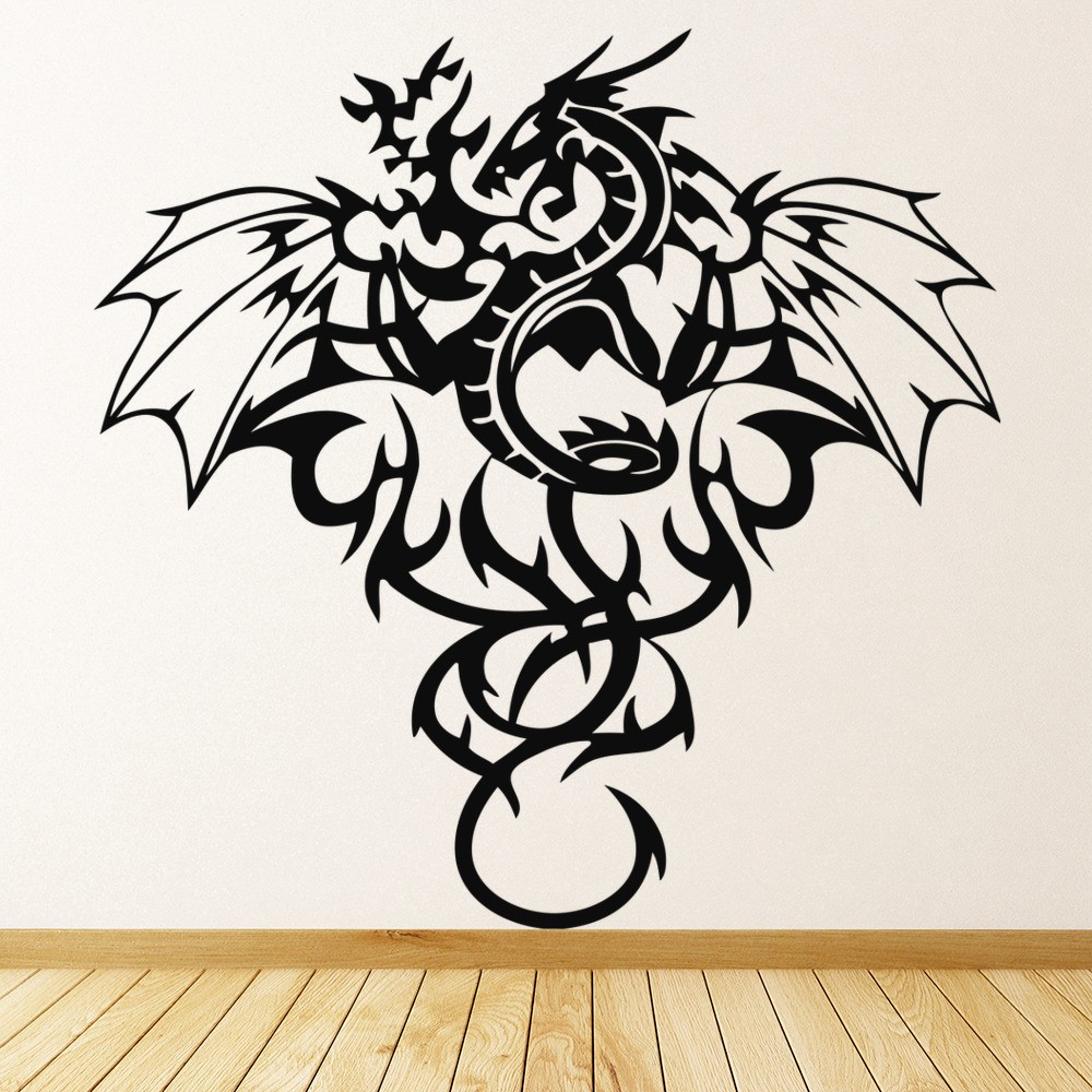 Tribal Dragon Wall Sticker Winged Monster Wall Decal Boys