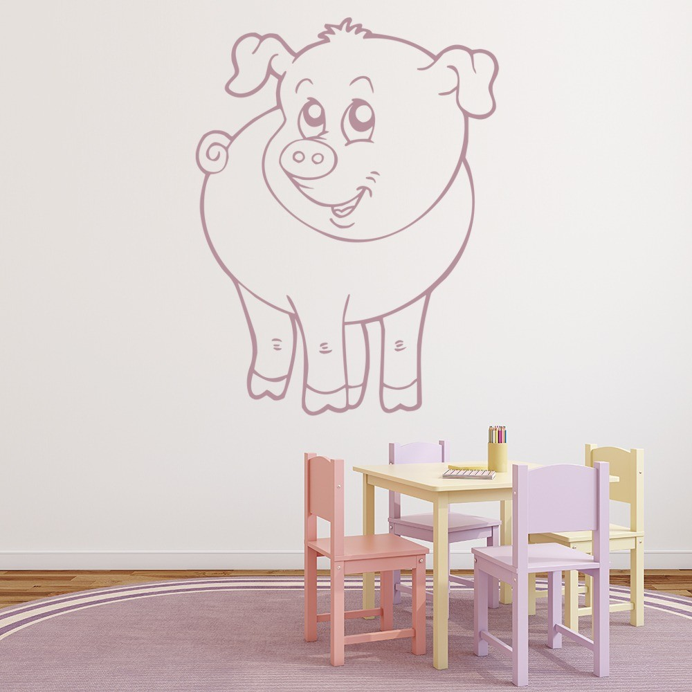Cute Pig Wall Sticker Farm Animals Wall Decal Kids Nursery
