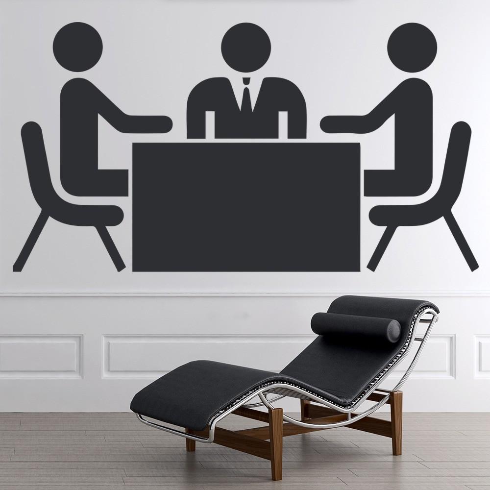 Stickman Business Meeting Wall Sticker Office Wall Art