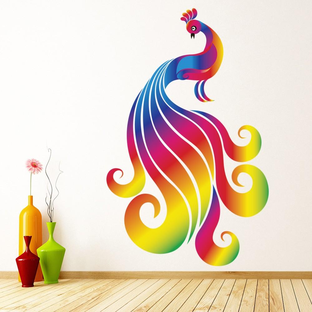 Bright Rainbow Peacock Wall Sticker Birds Wall Decal Girls Bedroom Home Decor