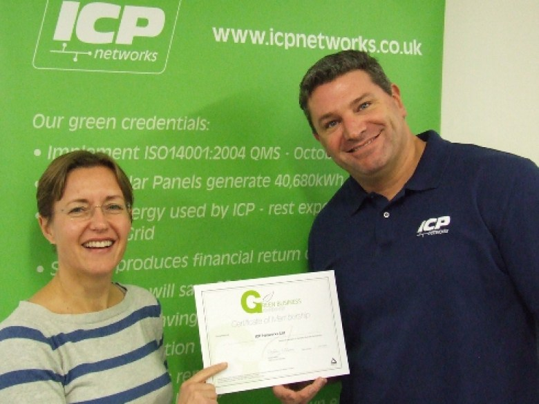 ICP-Networks-MD-Matt-Archer-and-Ops-Manager-Beki-Lancaster-celebrate-Green-Business-Membership