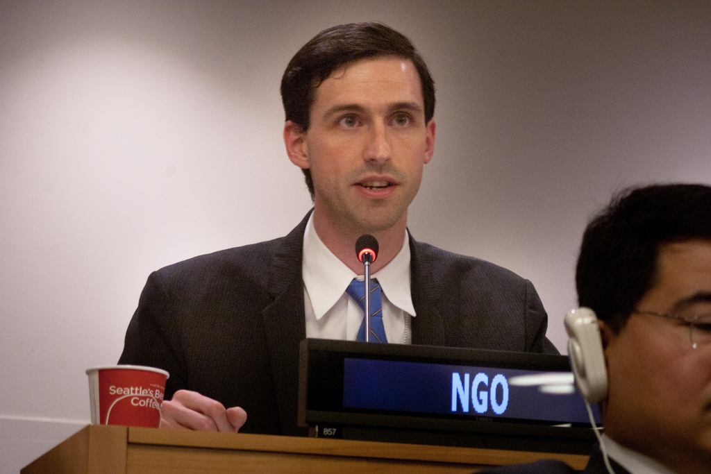 ICRAC member Dr. Matthew Bolton, presenting a statement on disarmament at the UN General Assembly's First Committee on Tuesday. Photo by Shant Alexander for Control Arms.