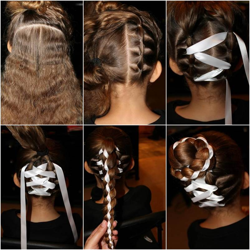 How To DIY Cute Braided Bun With Ribbon Hairstyle
