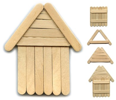 popsicle stick log cabin craft image