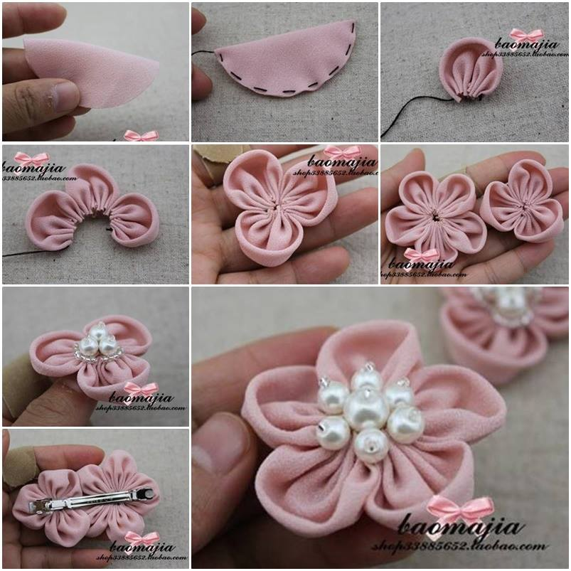DIY Pretty Fabric Flower Hair Clip