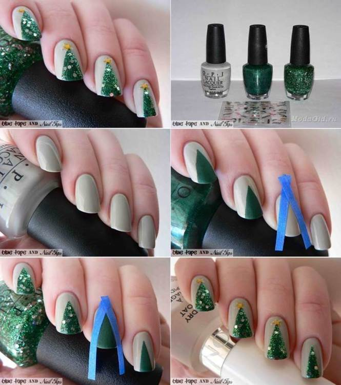 Cool Diy Nail Art Designs And Patterns For Christmas Holidays Abstract Tree