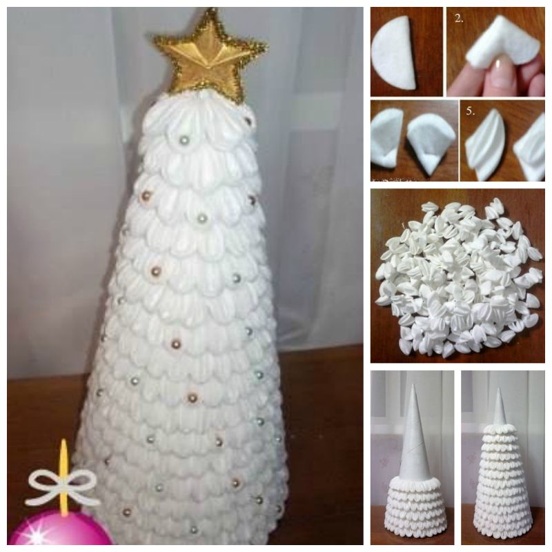 Creative Ideas DIY Cotton Pad Christmas Tree