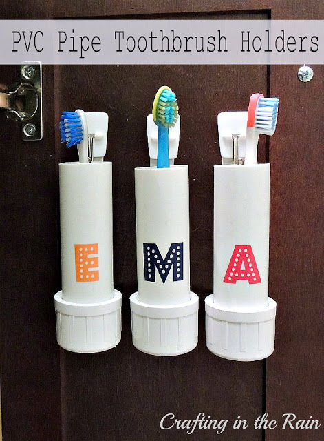30+ Creative Uses of PVC Pipes in Your Home and Garden --> PVC Pipe Toothbrush Holders