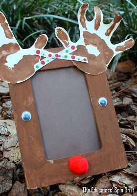 40+ Creative Handprint and Footprint Crafts for Christmas --> Reindeer Craft Frame