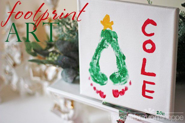 40+ Creative Handprint and Footprint Crafts for Christmas --> Christmas Tree Footprint Art