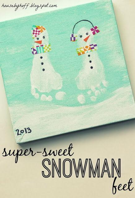 40+ Creative Handprint and Footprint Crafts for Christmas --> Super-sweet Snowman Feet