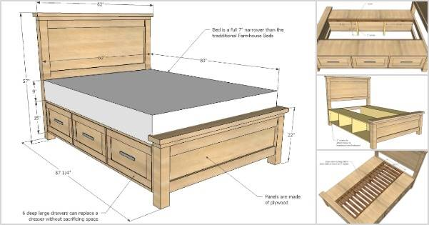 Creative Ideas How To Build A Farmhouse Storage Bed With Drawers I Creative Ideas
