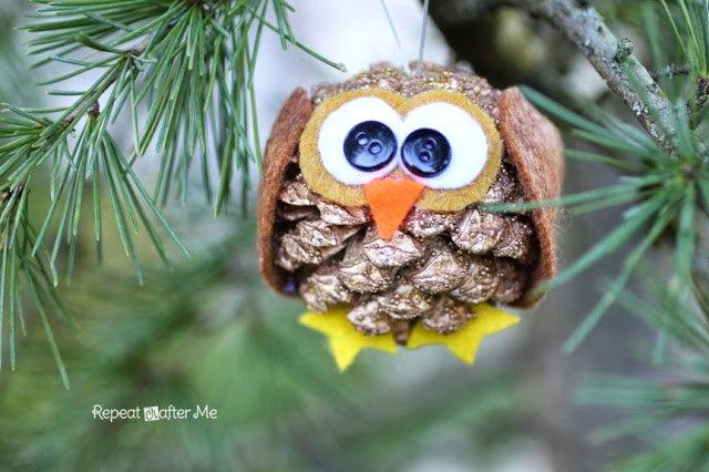 DIY Pinecone Owl Ornament