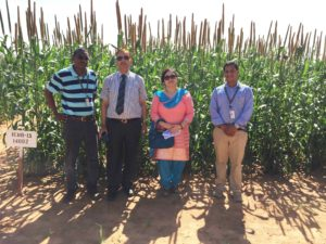 L to R: Dr Malick Ba, ICRISAT Country Representative, Niger, His Excellency Mr RS Malhotra, Indian ambassador in Niger, his wife and Dr Prakash Gangashetty, Scientist - Pearl millet breeding.