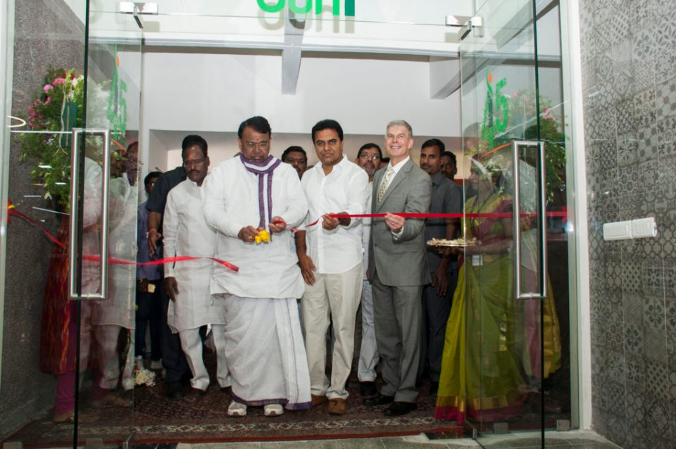 Inaugurating the iHUB: (L to R) Mr PS Reddy, Mr Rama Rao and Dr Bergvinson. Photo: PS Rao, ICRISAT