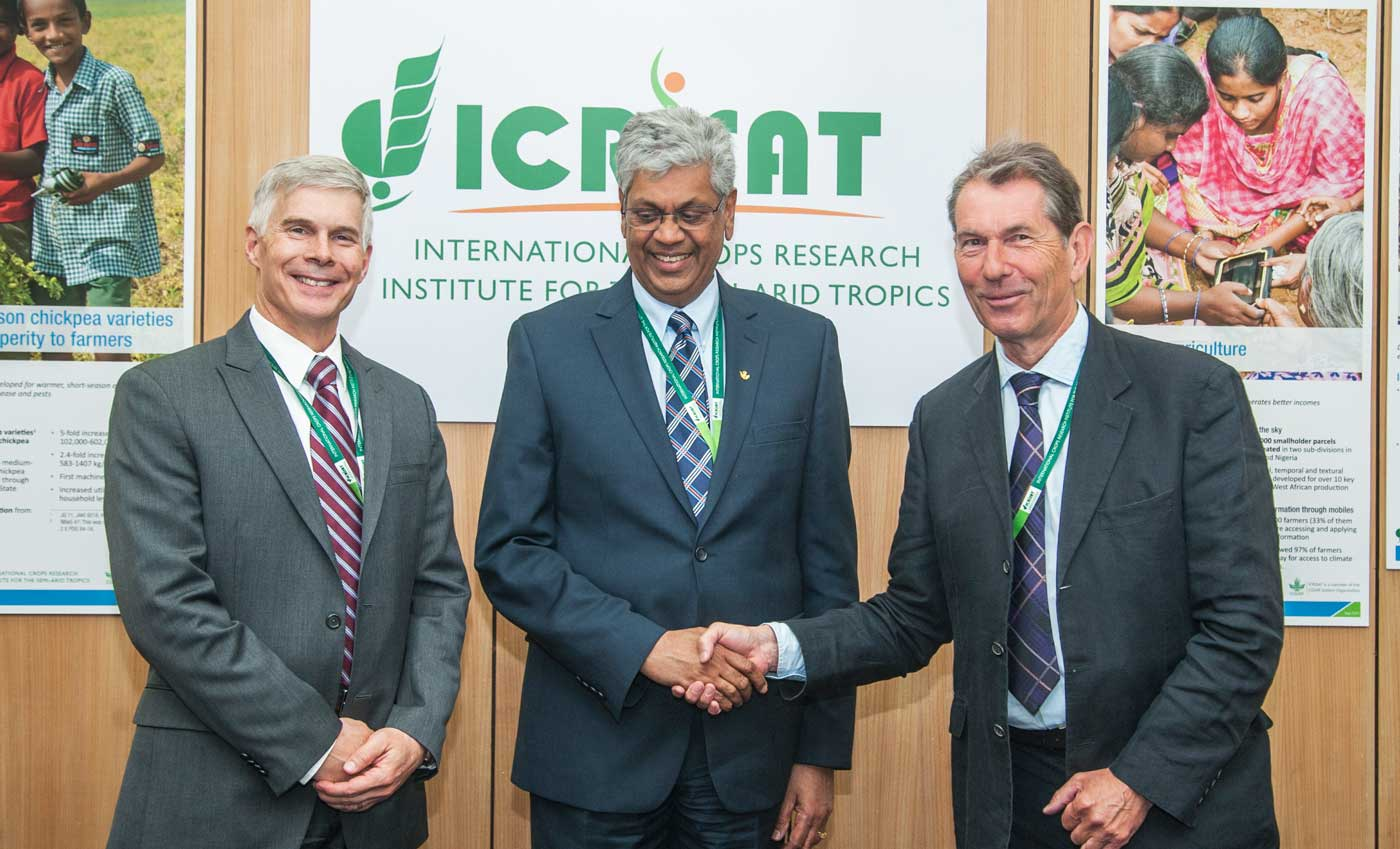 Dr David Bergvinson, Director General, ICRISAT, with former Governing Board Chair, Professor Chandra Madramootoo and current Chair, Dr Nigel Kerby. Photo: PS Rao, ICRISAT