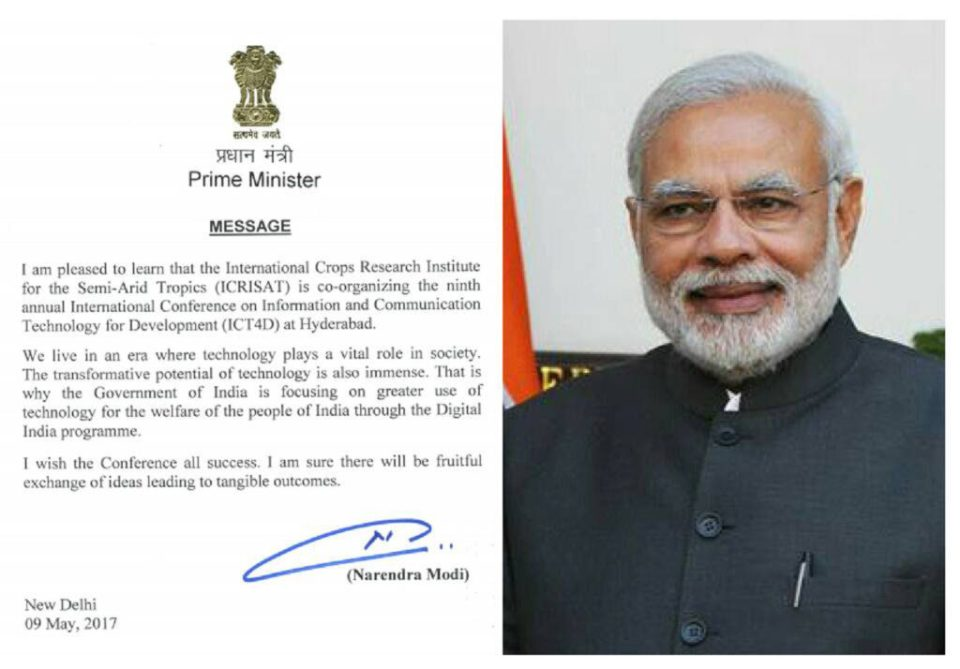Prime Minister Narendra Modi's message to ICRISAT.