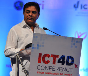 Mr KT Rama Rao, Minister for Information Technology, Government of Telangana, speaking at the conference. Photo: S Punna, ICRISAT