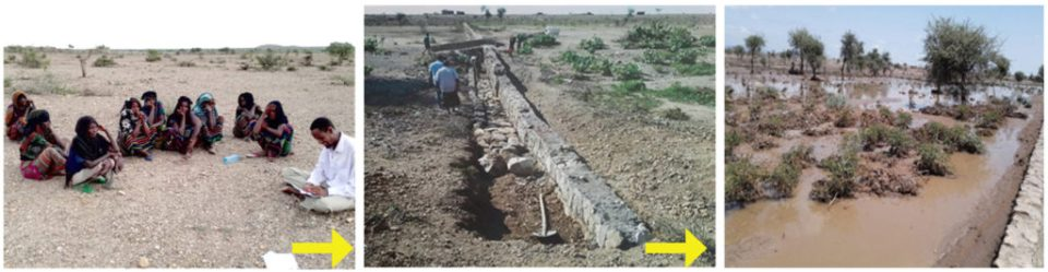 Changing landscapes due to water spreading weirs at Chifra, Afar National Regional State in Ethiopia. Photos: GIZ-Ethiopia